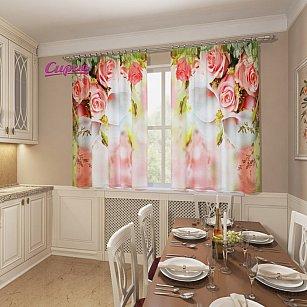 """Фотошторы для кухни """"Каллы и розы"""""""
