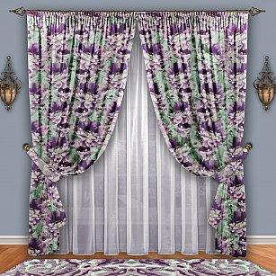 Комплект штор №084 Фиолетовый-Фисташка