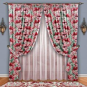 Комплект штор №084 Розовый-Фисташка