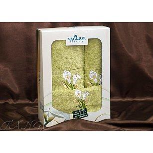 Комплект полотенец Yagmur ZAMBAK (Кала) Cotton в коробке (30*50; 50*90; 70*140), салатовый
