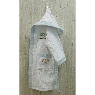 Детский банный халат Volenka Совёнок на 10-12 лет, белый-A