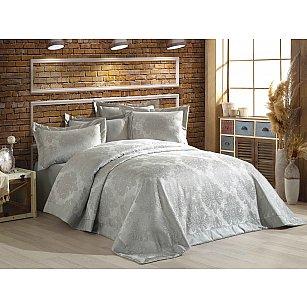 Покрывало гобелен DO&CO DIVA, серый, 240*260 см