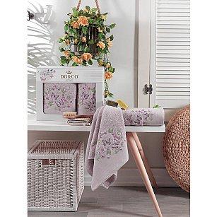 Комплект махровых полотенец с вышивкой DO&CO FARFALLA (50*90; 70*140), лиловый
