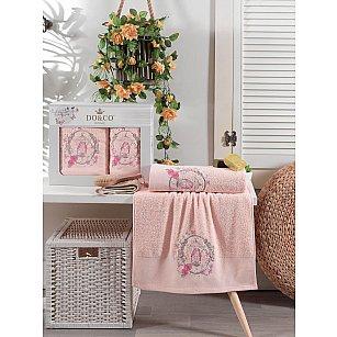 Комплект махровых полотенец с вышивкой DO&CO DALIA (50*90; 70*140), персиковый