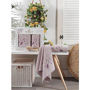 Комплект махровых полотенец с вышивкой DO&CO DALIA (50*90; 70*140), лиловый