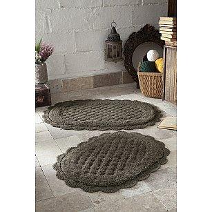 """Набор ковриков для ванной кружевной """"MODALIN MERIT"""" (50*80; 45*60), темно-коричневый"""