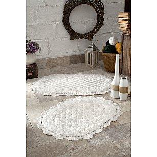 """Набор ковриков для ванной кружевной """"MODALIN MERIT"""" (50*80; 45*60), кремовый"""