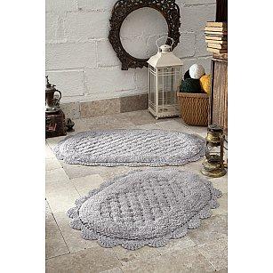 """Набор ковриков для ванной кружевной """"MODALIN MERIT"""" (50*80; 45*60), светло-серый"""