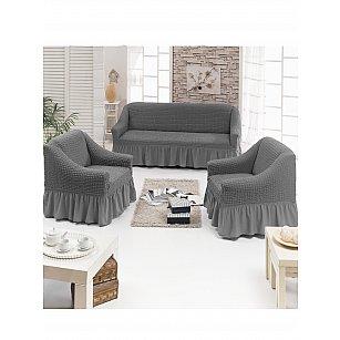 """Набор чехлов для дивана и кресел """"JUANNA"""" 3+1+1, серый"""