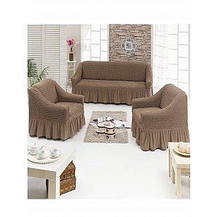 """Набор чехлов для дивана и кресел """"DO&CO"""" 3+1+1, серо-коричневый"""