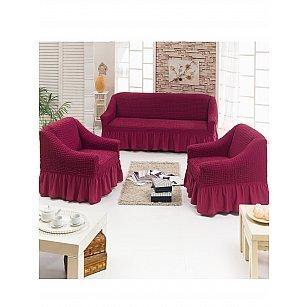 """Набор чехлов для дивана и кресел """"DO&CO"""" 3+1+1, бордовый"""