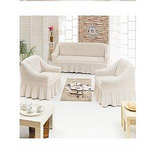"""Набор чехлов для дивана и кресел """"JUANNA"""" 3+1+1, кремовый"""