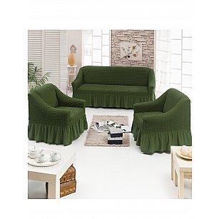 """Набор чехлов для дивана и кресел """"DO&CO"""" 3+1+1, оливковый"""