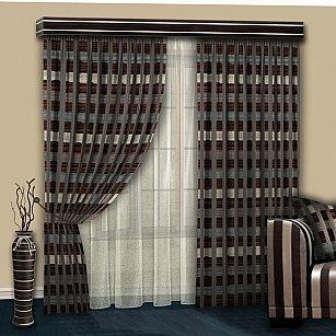 Комплект штор №103 Коричневый-Беж-Какао-Бирюза с серебристой шиниловой полосой