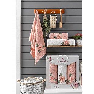 Комплект махровых полотенец Merzuka Roza (50*90*2; 70*140), персиковый