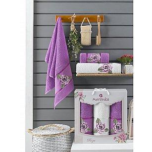 Комплект махровых полотенец Merzuka Roza (50*90*2; 70*140), фиолетовый