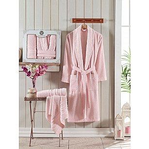 Набор из женского халата и полотенец Philippus Zenit, светло-розовый, р. 52