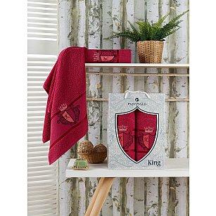 Комплект махровых полотенец Merzuka King (50*90; 70*140), бордовый