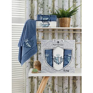 Комплект махровых полотенец Merzuka King (50*90*2; 70*140), темно-голубой