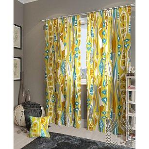 """Комплект штор """"Телус"""", желтый, голубой, 260 см"""