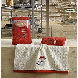 """Набор кухонных полотенец """"KARNA LEMON"""" Красный, v3, 45*65 см - 2 шт"""