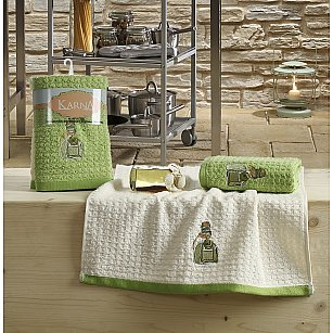 "Набор кухонных полотенец ""KARNA LEMON"" Зеленый, v3, 45*65 см - 2 шт"