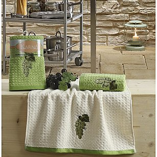 "Набор кухонных полотенец ""KARNA LEMON"" Зеленый, v1, 45*65 см - 2 шт"