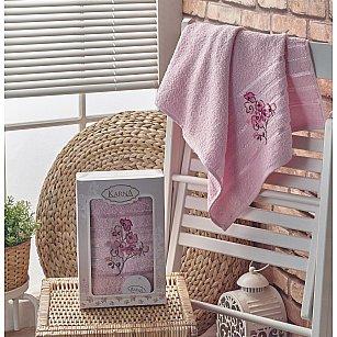 """Полотенце махровое в коробке """"KARNA PAPILON"""", светло-розовый, 50*90 см-A"""