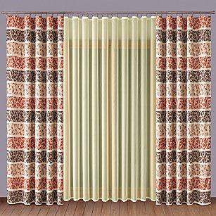 Комплект штор №1110064, терракотовый, кремовый
