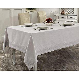 """Скатерть с вышивкой """"KARNA HONEY"""", прямоугольная, серый, 160*220 см"""