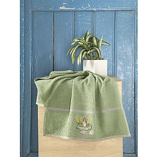 "Полотенце кухонное махровое ""KARNA BREAKFAST"", зеленый, 45*70 см"