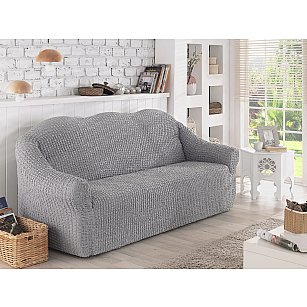 "Чехол для дивана ""KARNA""  двухместный, без юбки, серый"