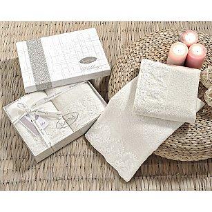 """Комплект махровых полотенец с гипюром """"KARNA ELINDA"""", кремовый, 50*90 см - 2 шт"""