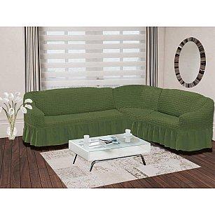 "Чехол на диван угловой правосторонний ""BULSAN"" 2+3, зеленый"