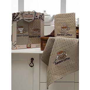 Комплект вафельных салфеток бамбук Meteor  в коробке, коричневый, 40*60 см - 2 шт
