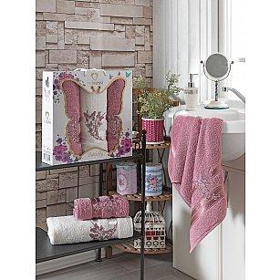 Комплект махровых полотенец с вышивкой TWO DOLPHINS BUTTERFLY (50*90*2; 70*140), брусничный