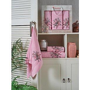 Комплект махровых полотенец JUANNA BATIK (50*90*2; 70*140), розовый