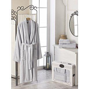 Набор из мужского халата и полотенец DO&CO GOLD, серый