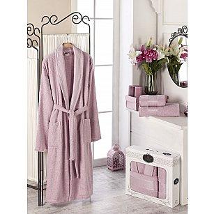 Набор из женского халата и полотенец DO&CO GOLD, брусничный