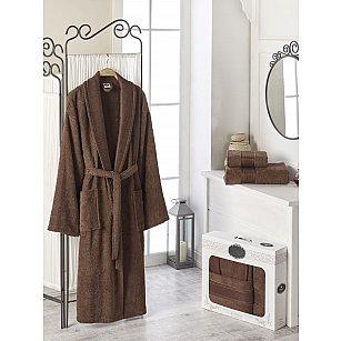 Набор из мужского халата и полотенец DO&CO GOLD, коричневый