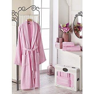 Набор из женского халата и полотенец DO&CO GOLD, светло-розовый