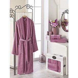 Набор из женского халата и полотенец DO&CO GOLD, фуксия