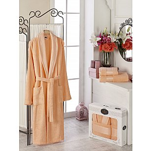 Набор из женского халата и полотенец DO&CO GOLD, оранжевый, р. 52