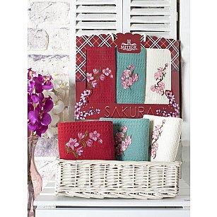 Комплект вафельных салфеток с вышивкой Meteor Sakura в коробке, 40*60 см - 3 шт