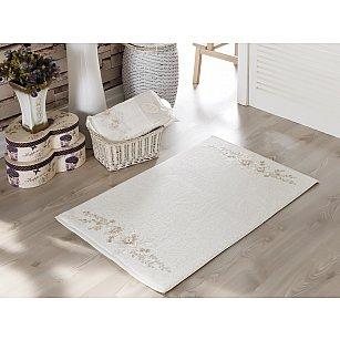 """Махровое французское кружевное полотенце для ног """"IRYA FLEUR"""", кремовый, 60*90 см"""