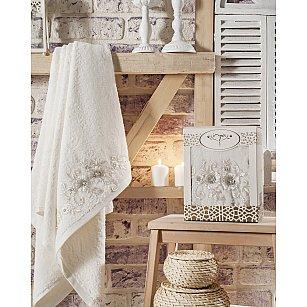 """Полотенце махровое с французским гипюром """"IRYA BELOVED"""" в коробке, молочный, 85*150 см"""