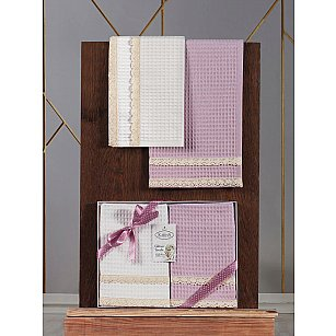 """Комплект вафельных полотенец с гипюром """"KARNA KOPENAKI"""", v2, 40*60 см - 2 шт"""