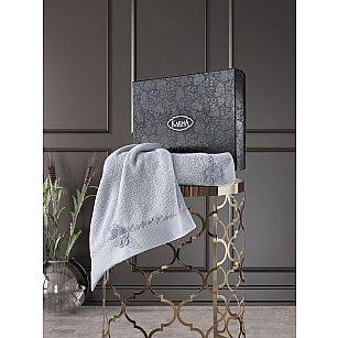 """Комплект из 2-х махровых полотенец с вышивкой """"KARNA SIENA"""" (50*90; 70*140), серый"""