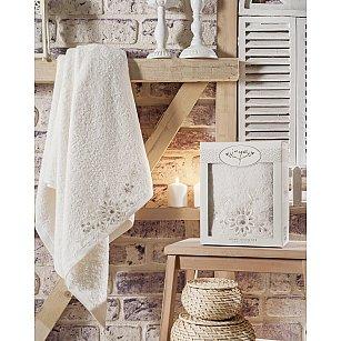 """Полотенце махровое с гипюром в коробке """"IRYA COOL Mолочный"""", 85*150 см"""