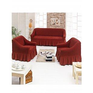 """Набор чехлов для дивана и кресел """"DO&CO"""" 3+1+1, терракотовый"""
